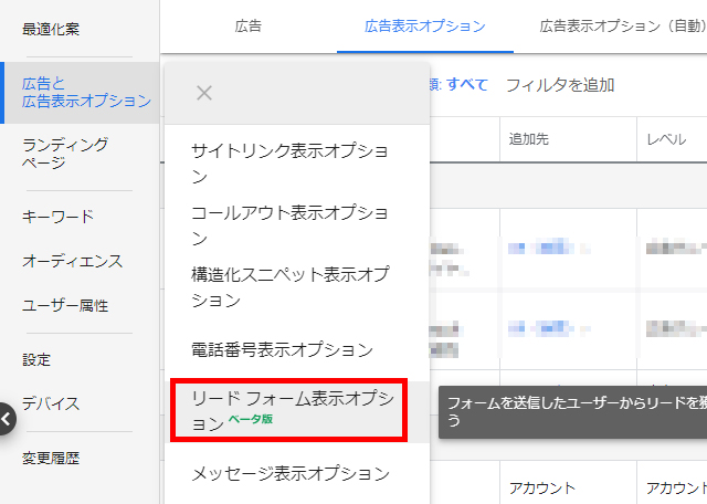 【Google広告】リードフォーム表示オプションの概要と設定方法画像2
